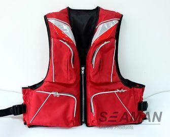أزياء دائم 4 جيوب 420D البوليستر نايلون بولي كلوريد الفينيل رغوة الكبار الصيد سترة النجاة 100N